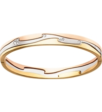 Georg Jensen Fusion 18Ct Rose Gold White Gold Yellow Gold And Brilliant Cut Diamond Bangle Yg Rg Wg