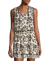 Shoshanna Filomena Floral Print Silk Dress White Black