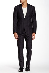 Ben Sherman Grey Plaid Camden Two Button Wool Suit Gray