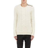 Balmain Men's Button Shoulder Cable Knit Sweater Ivory
