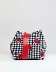 Liquorish Gingham And Floral Shoulder Grab Bag Multi