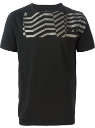Golden Goose Deluxe Brand Glitter Stripe Detail T Shirt Black