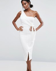 Lavish Alice One Shoulder Pencil Dress With Tie Detail White