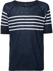 Eleventy Striped Trim Sweatshirt Blue