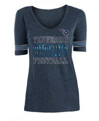 5Th And Ocean Tennessee Titans Tri Blend Foil Sleeve Stripe T Shirt Navy