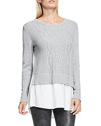 Vince Camuto Contrast Hem Cable Knit Sweater Light Heather Grey