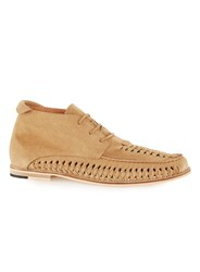 Topman Yellow Sand Suede Woven Chukka Boots