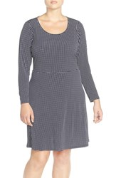 Plus Size Women's Michael Michael Kors 'Cooper' Print Jersey Long Sleeve Fit And Flare Dress