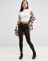 Asos High Waisted Stretch Skinny Trousers With Zips Black