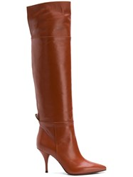 L'autre Chose Pointed Toe Over The Knee Boots Yellow And Orange