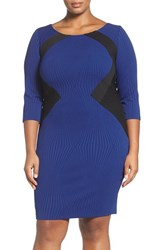Sangria Plus Size Women's Colorblock Knit Sheath Dress