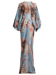 Adriana Degreas Floral Print Balloon Sleeve Silk Maxi Dress Blue