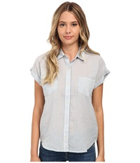 Joe's Jeans Lightweight Woven Short Sleeve Shirt Light Blue White Stripe Women's Short Sleeve Button Up