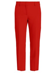 Msgm Slim Leg Cropped Crepe Trousers Red