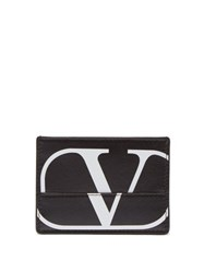 Valentino Monogram Leather Card Holder Black