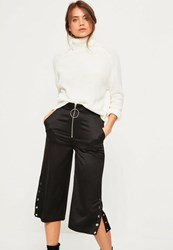 Missguided Black Zip Front Ring Detail Popper Hem Culottes