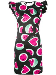 Love Moschino Watermelon Heart Print Dress Women Cotton Spandex Elastane 40 Black
