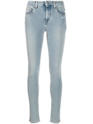 Off White Embroidered Details Skinny Jeans Blue