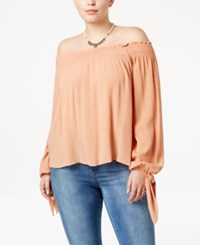 American Rag Trendy Plus Size Off The Shoulder Top Only At Macy's Dusty Coral