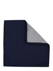 Mr. Start Pin Dot Silk Pocket Square Navy Blue