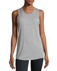 Peony Open Back Jersey Muscle Tank Dark Gray