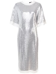 Sally Lapointe Sequin Embellished T Shirt Dress White