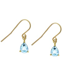 Victoria Townsend Blue Topaz Teardrop Earrings In 18K Gold Over Sterling Silver