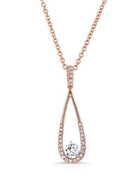Rahaminov 18K Rose Gold And Open Teardrop Necklace With Diamonds