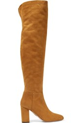 Aquazzura London Suede Over The Knee Boots Camel