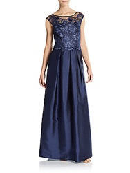 Kay Unger Floral Lace Ball Gown Navy