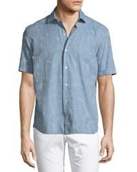 Culturata Jacquard Print Short Sleeve Button Down Shirt Blue