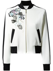 Elie Saab Flowers Bomber Jacket White