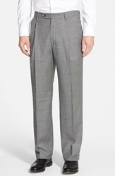 Berle Pleated Houndstooth Wool Trousers Charcoal