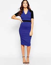 Vesper Solace Midi Dress With Contrast Waistband And Sleeves Blue