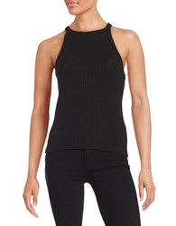 Design Lab Lord And Taylor Ribbed Halter Tank Black