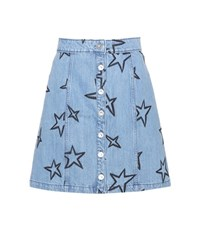 Etre Cecile Star Embroidered Denim Miniskirt Blue
