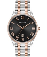 Bulova Men's Two Tone Stainless Steel Bracelet Watch 40Mm 98B279 Two Tone