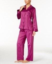 Miss Elaine Jacquard Dot Brushed Back Satin Pajama Set Plum
