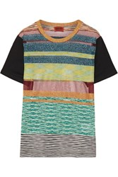 Missoni Striped Metallic Stretch Knit T Shirt Turquoise