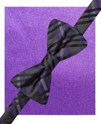 Alfani Spectrum Gable Plaid Ii Pre Tied Bow Tie And Pocket Square Set Only At Macy's Purple