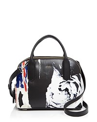 Dkny Small Ripped Rose Satchel Black Multi
