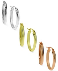 Giani Bernini Tri Tone 3 Pc. Set Oval Hoop Earrings In Sterling Silver Gold Plated And Rose Gold Plated Sterling Silver Only At Macy's Tri Tone