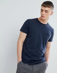 Solid T Shirt With Raw Edge Neck In Navy Navy 1991