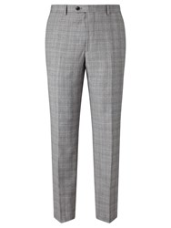 John Lewis Super 100S Wool Cashmere Milled Check Tailored Suit Trousers Grey