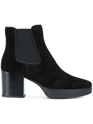 Tod's Heeled Chelsea Boots Calf Leather Calf Suede Wood Rubber 38.5 Black
