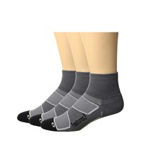 Feetures Elite Light Cushion Quarter 3 Pair Pack Graphite Black Quarter Length Socks Shoes Gray