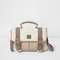 River Island Womens Beige And Cream Quilted Mini Satchel