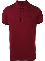 Diesel Brand Stud Polo Shirt Red