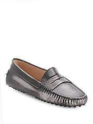 Tod's Metallic Leather Slip On Penny Loafers Silver