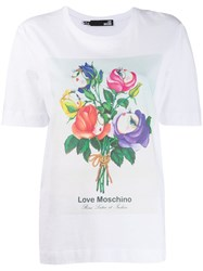 Love Moschino Floral Bucket T Shirt White
